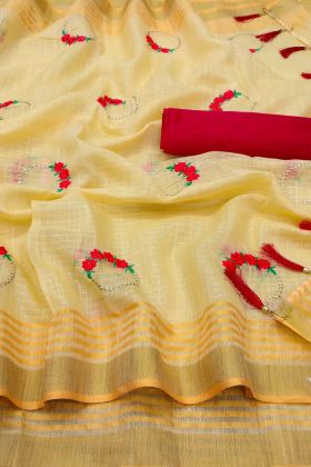 Demanding Embroidered Linen Saree In Yellow Color