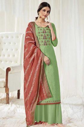 Demanding Graas Green Color Pure Dola Cotton Salwar Suit