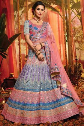 Demanding Grey Color Pure Organza Indian Bridal Lehenga Choli Collection