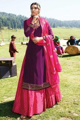 Demanding Heavy Satin Georgette Purple Indo-Western Salwar Suit
