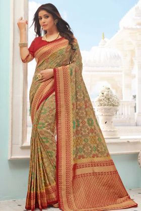 Demanding New Style Beige Handloom Silk Weaving Saree