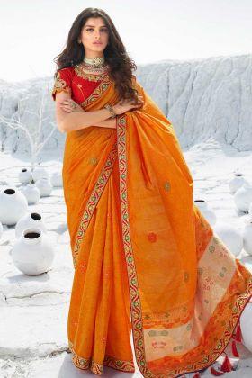 Demanding Orange Color Jacquard Silk Saree