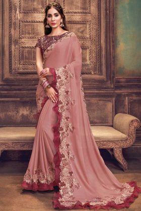 Demanding Pink Color Silk Georgette Designer Saree