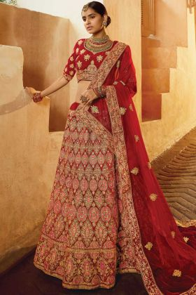 Demanding Red Pure Velvet Indian Bridal Lehenga Choli Collection