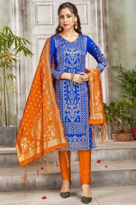 Demanding Royal Blue Color Banarasi Art Silk Salwar Suit