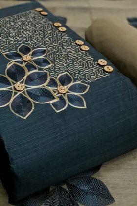 Demanding Teal Blue Colored Slub Cotton Dress Material Of Salwar Kameez