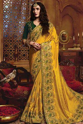 Demanding Yellow Color Satin Silk Embroidery Work Saree