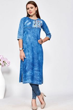 Denim Cotton Designer Readymade Kurti