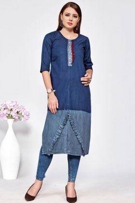 Denim Cotton Stylish Kurti Online