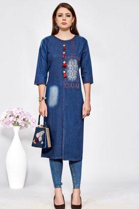 Denim Cotton Stylish Readymade Kurti