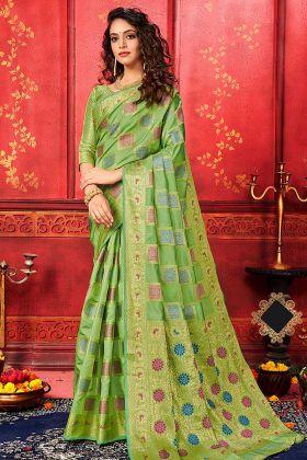 Designer Banarasi Silk Bengali Saree Green Color