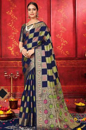 Designer Banarasi Silk Saree Navy Blue Color With Blouse