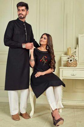 Designer Black Pure Cotton Couple Combo Kurta With Payjama And Kurti With Pant