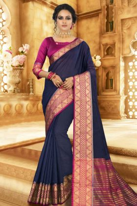 Designer Blouse Khadi Silk Saree With Weaving Work