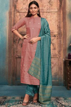 Designer Casual Wear Light Brown Tussar Satin Stitched Kurti