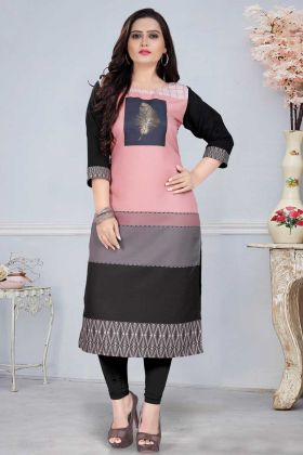 Designer Casual Wear Peach Black Readymade Kurti
