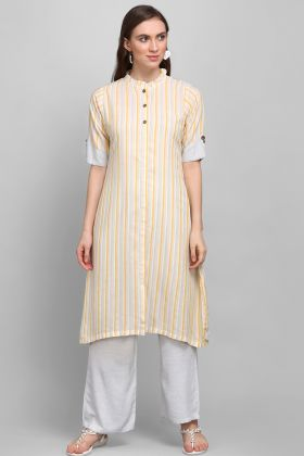 Designer Casual Wear Yellow And Grey Rayon Printed Kurti