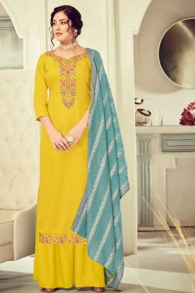 Designer Cotton Lemon Yellow Color Salwar Suit