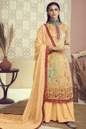 Designer Cotton Light Yellow Color Salwar Suit