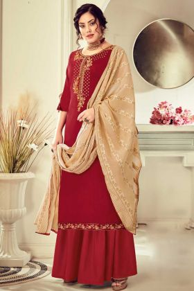 Designer Cotton Maroon Color Salwar Suit