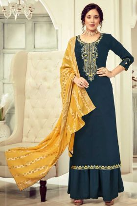 Designer Cotton Navy Blue Color Salwar Suit