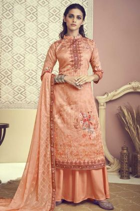 Designer Cotton Orange Color Salwar Suit