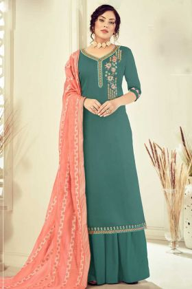 Designer Cotton Pine Color Salwar Suit