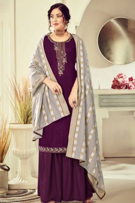 Designer Cotton Wine Color Salwar Suit