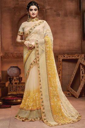 Designer Cream Yellow Party Wear Saree In Embroidred Work