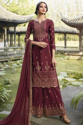 Designer Emboderied Maroon Color Salwar Suit