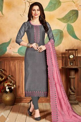 Designer Embroidered Dress Material In Grey Color