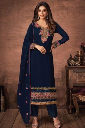 Designer Exclusive Navy Blue Foux Georgette Party Wear Salwar Suit
