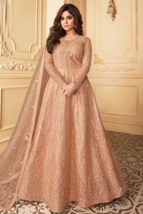 Designer Exclusive Peach Butterfly Net Party Wear Anarkali Suit
