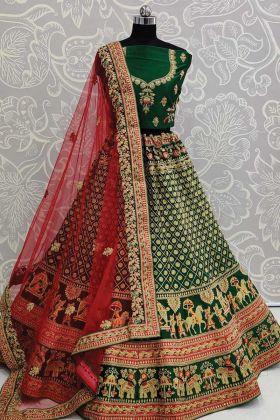 Designer Exclusive Satin Green Color Bridal Lehenga Choli