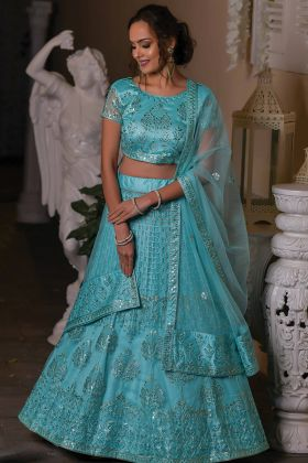 Designer Exclusive Sky Blue Color Net Fabric Lehenga Choli