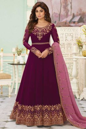 Designer Exclusive Violet Party Wear Real Georgette Anarkali Suit