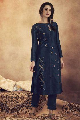 Designer Fancy Navy Blue Readymade Pair Of Kurti With Bottom