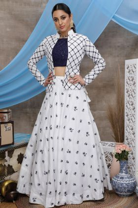 Designer Fancy Pure Cotton White Lehenga Choli With Koti