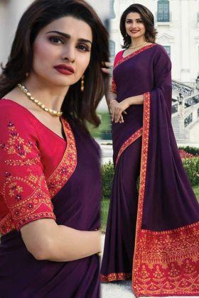 Designer Fancy Sana Silk Wine Purple Color Heavy Saree