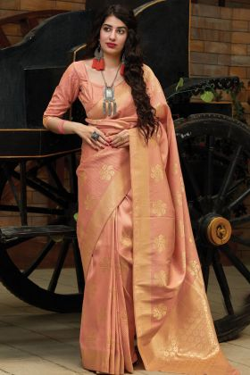 Designer Festive Wear Peach Silk Saree