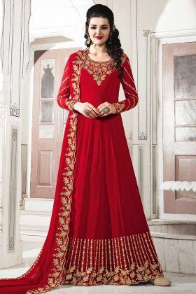 Designer Floor Length Anarkali Suit In Red Color