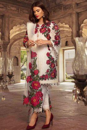 Designer Foux Georgette Off White Party Wear Pakistani Suit
