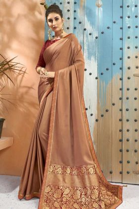 Designer Georgette Brown Color New Saree Designs