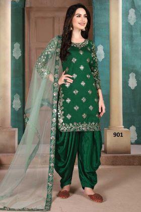 Designer Green Color Art Silk Embroidered Panjabi Salwar Suit