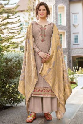 Designer Grey Color Tussar Art Silk Salwar Suit