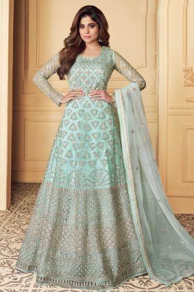 Designer Heavy Aqua color Party Wear Aanarakali Suit