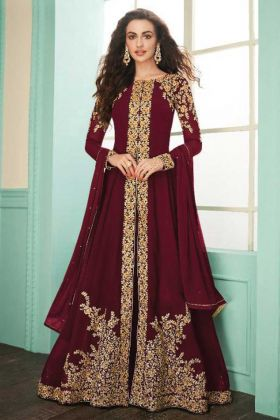 Designer Heavy Embroidered Real Georgette Maroon Suit