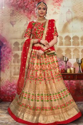 Designer Heavy Embroidery Work Gold Bridal Lehenga Choli