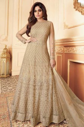 Designer Heavy Gold color Party Wear Aanarkali Suit