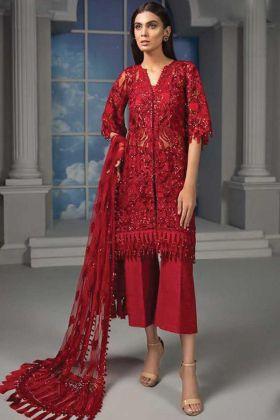 Designer Heavy Net Red Party Wear Pakistani Style Suit